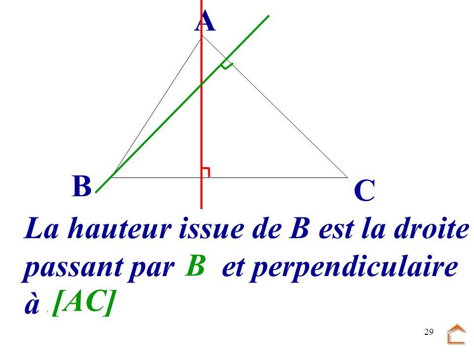 28 B C A La hauteur issue de B est la droite passant par.... et perpendiculaire à... [AC] B