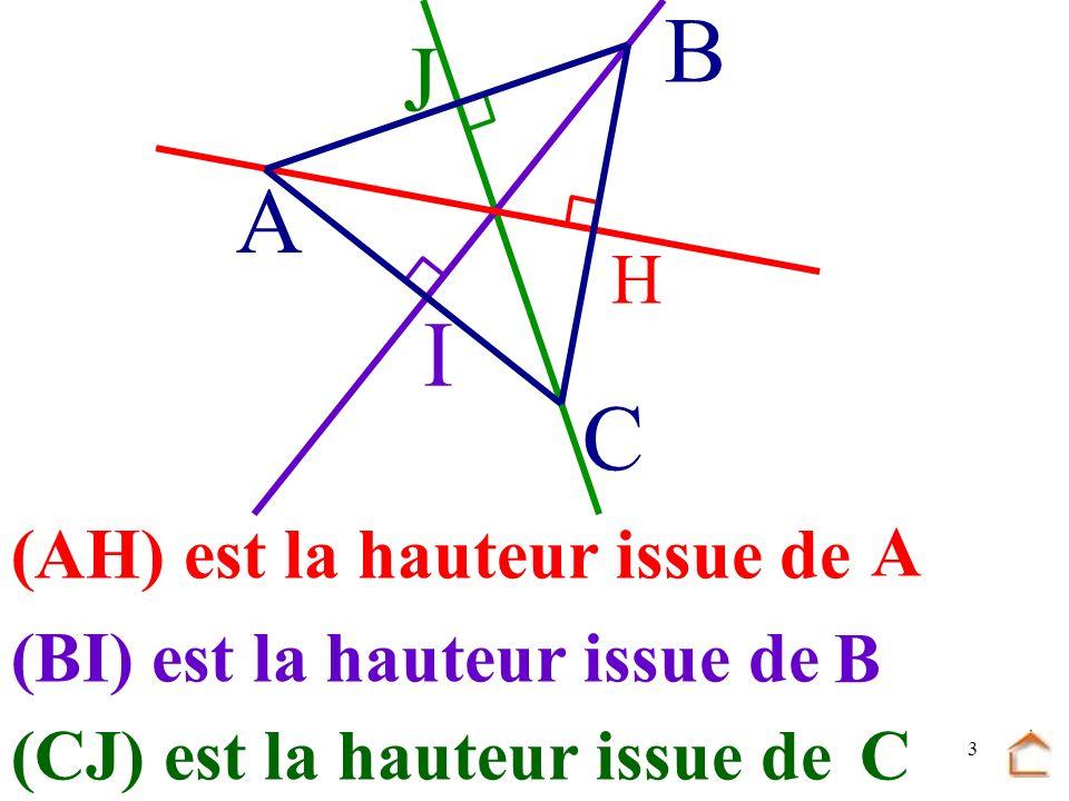 2 Définition : une hauteur d'un triangle est perpendiculaire H C B A passant par une droite un sommet et au côté opposé.