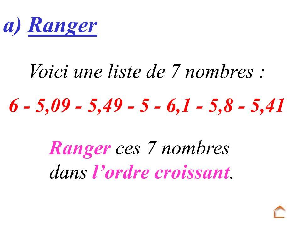 a) Ranger Voici une liste de 7 nombres : 6 - 5,09 - 5,49 - 5 - 6,1 - 5,8 - 5,41 Ranger ces 7 nombres dans lordre croissant.