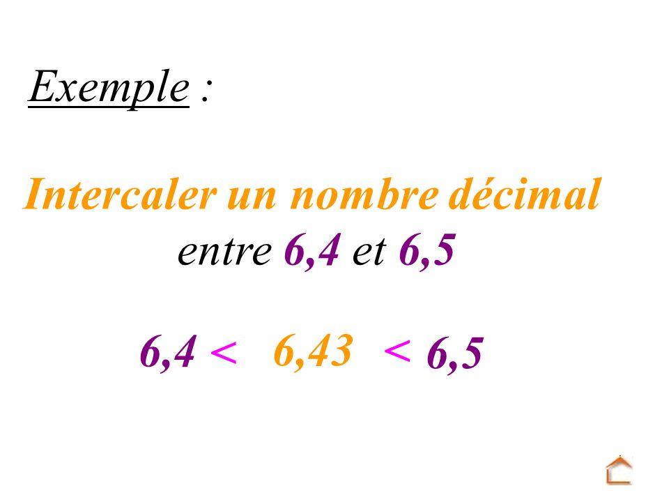 Intercaler un nombre décimal entre 6,4 et 6,5 Exemple : 6,4 6,5 < < 6,43