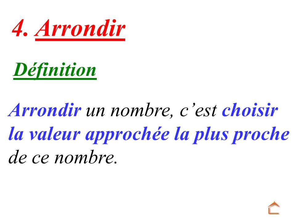 Définition Arrondir un nombre, cest choisir la valeur approchée la plus proche de ce nombre. 4. Arrondir