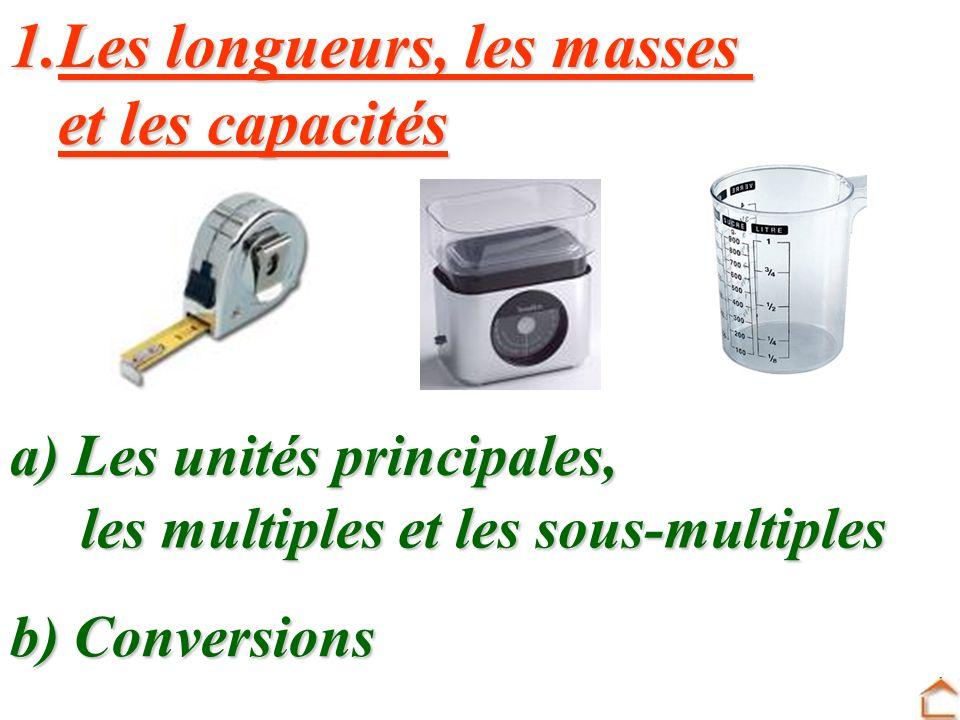 UNITES DE MESURE CONVERSIONS 1. Les longueurs, les masses Les longueurs, les masses Les longueurs, les masses et les capacités et les capacités 2. Les