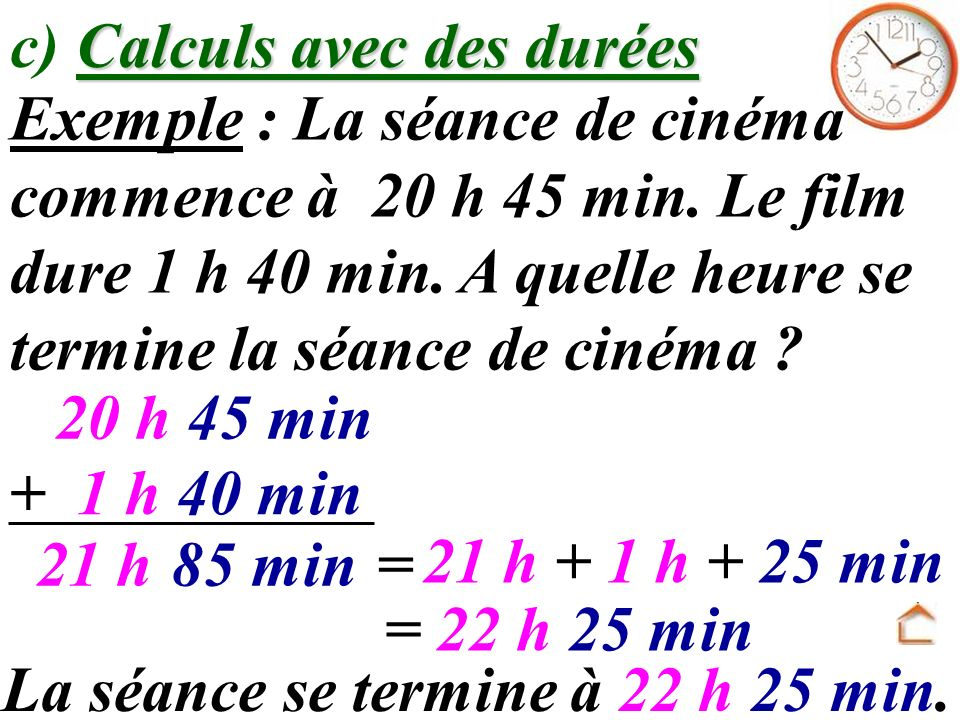 Conversions b) Conversions Exemple 2 : Convertir 75 s en min s. = 60 s + 15 s donc 75 s = 60 s = 1 min 1 min 15 s