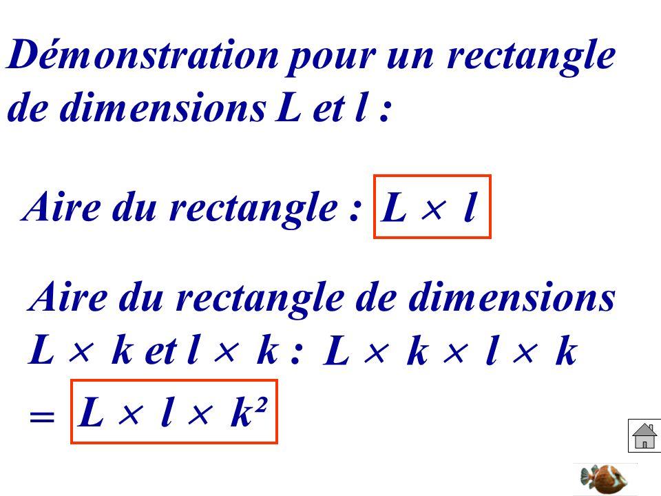 Démonstration pour un rectangle de dimensions L et l : Aire du rectangle : L l Aire du rectangle de dimensions L k et l k : L k l k = L l k²