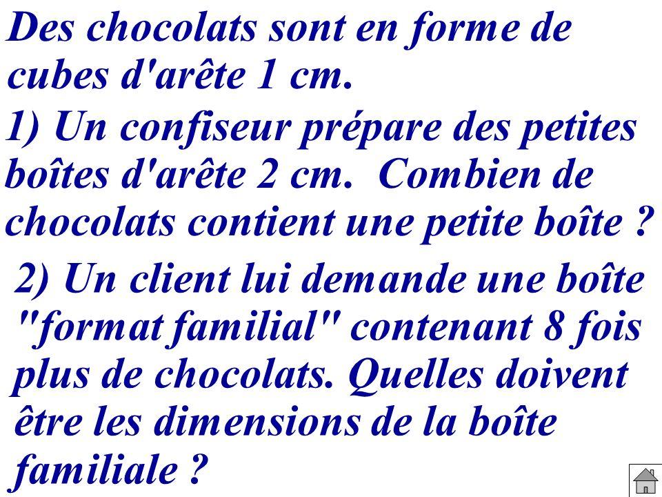 Des chocolats sont en forme de cubes d'arête 1 cm. 2) Un client lui demande une boîte
