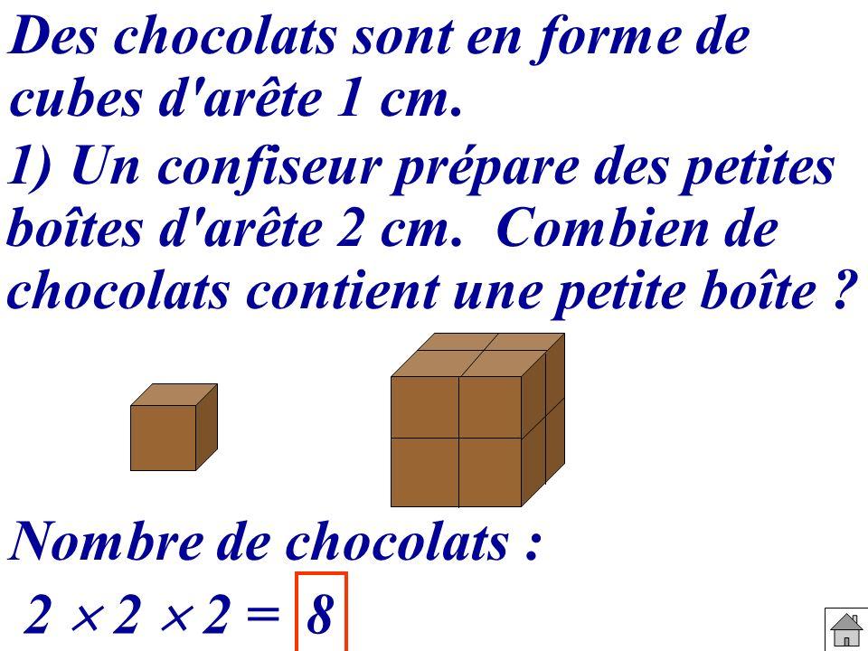 Des chocolats sont en forme de cubes d'arête 1 cm. 1) Un confiseur prépare des petites boîtes d'arête 2 cm. Combien de chocolats contient une petite b