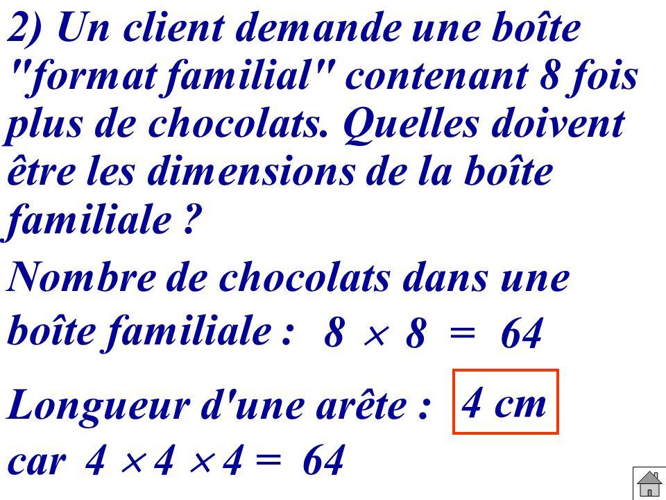 Nombre de chocolats dans une boîte familiale : 2) Un client demande une boîte