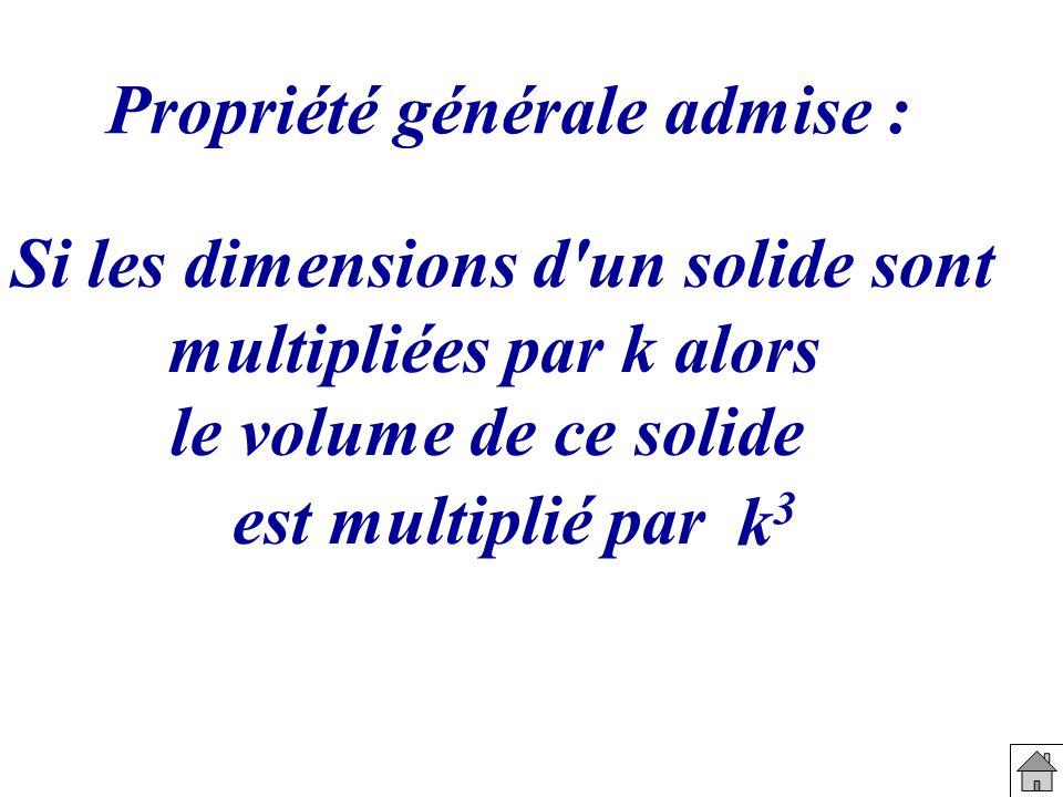 Propriété générale admise : Si les dimensions d'un solide sont multipliées par k alors le volume de ce solide est multiplié par k3k3