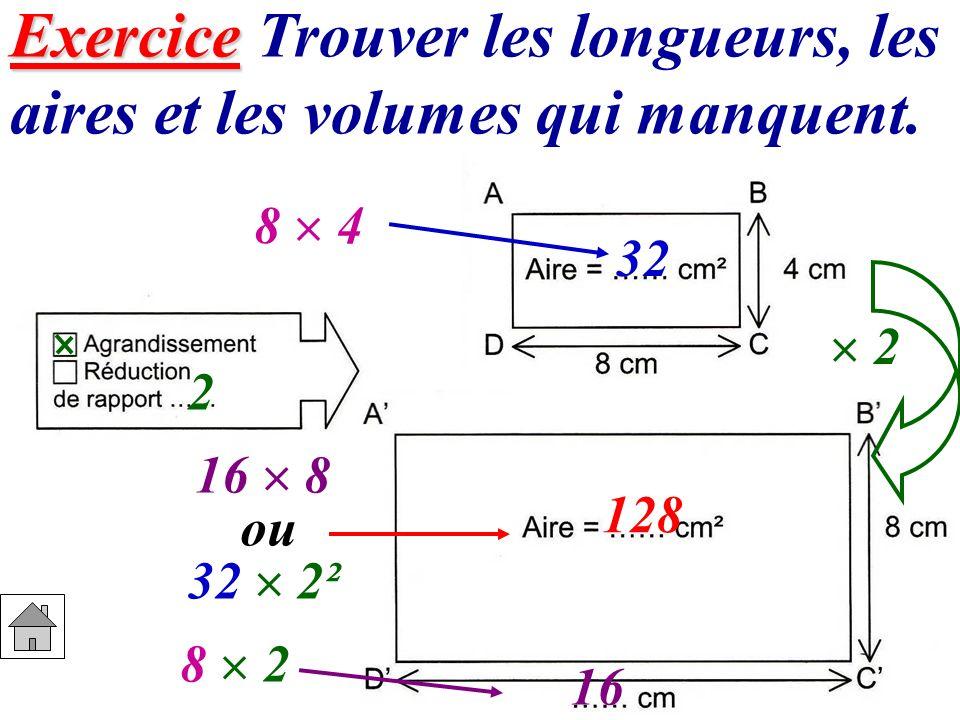 Exercice Exercice Trouver les longueurs, les aires et les volumes qui manquent. 32 2 8 2 16 32 2² 128 8 4 16 8 ou 2