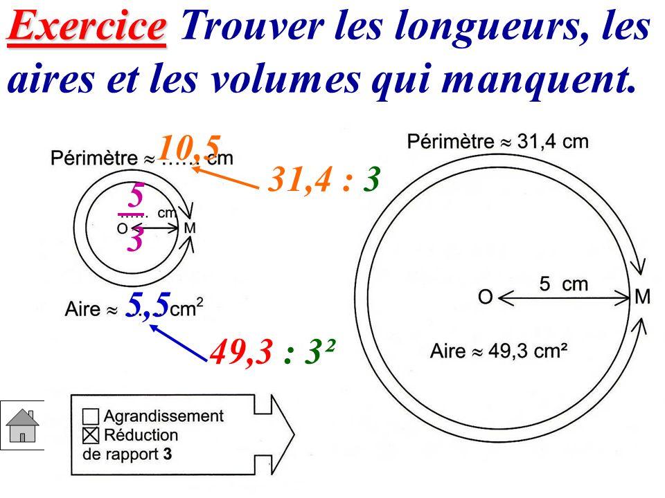 Exercice Exercice Trouver les longueurs, les aires et les volumes qui manquent. 5353 10,5 31,4 : 3 49,3 : 3² 5,5