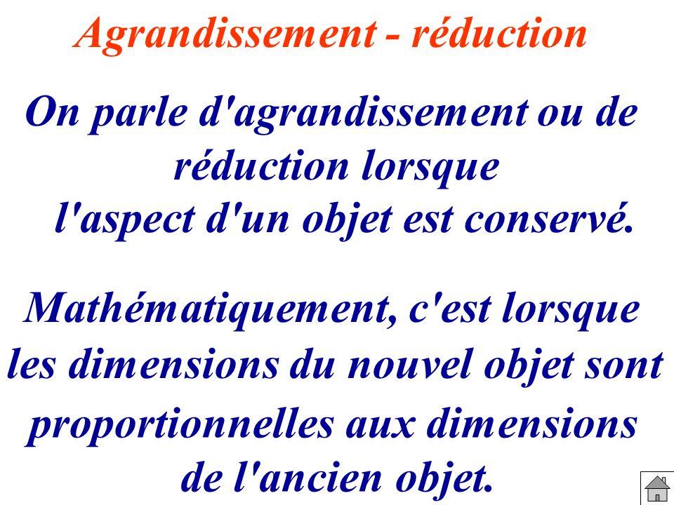 Agrandissement - réduction On parle d'agrandissement ou de réduction lorsque Mathématiquement, c'est lorsque les dimensions du nouvel objet sont propo