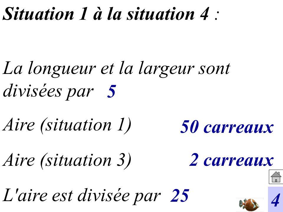 Situation 1 à la situation 4 : L'aire est divisée par Aire (situation 3) Aire (situation 1) La longueur et la largeur sont divisées par 4 5 2 carreaux
