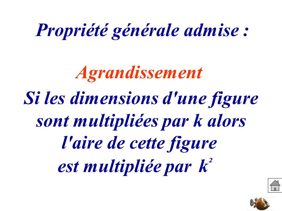 Propriété générale admise : Si les dimensions d'une figure sont multipliées par k alors l'aire de cette figure est multipliée park²k² Agrandissement