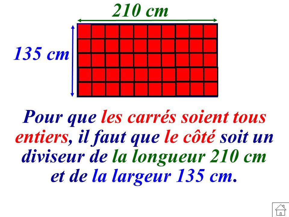 Pour que les carrés soient tous entiers, il faut que le côté soit un diviseur de la longueur 210 cm et de la largeur 135 cm.