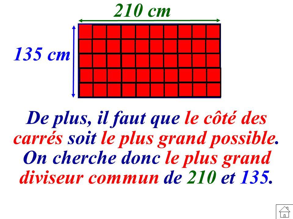 210 cm 135 cm De plus, il faut que le côté des carrés soit le plus grand possible.