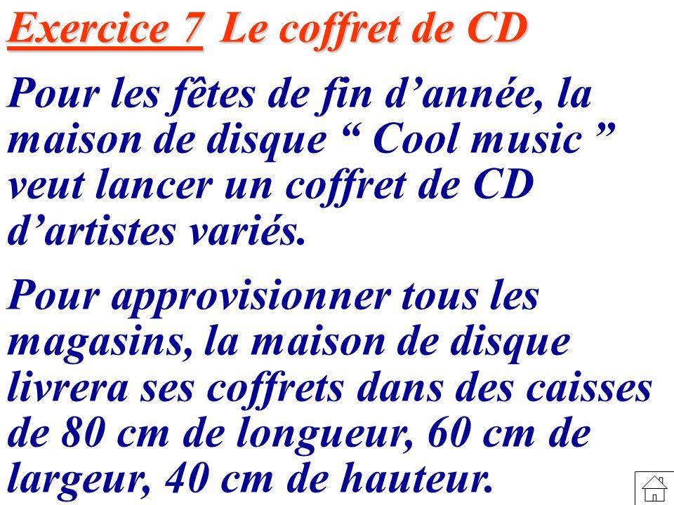 Exercice 7 Le coffret de CD Pour les fêtes de fin dannée, la maison de disque Cool music veut lancer un coffret de CD dartistes variés.