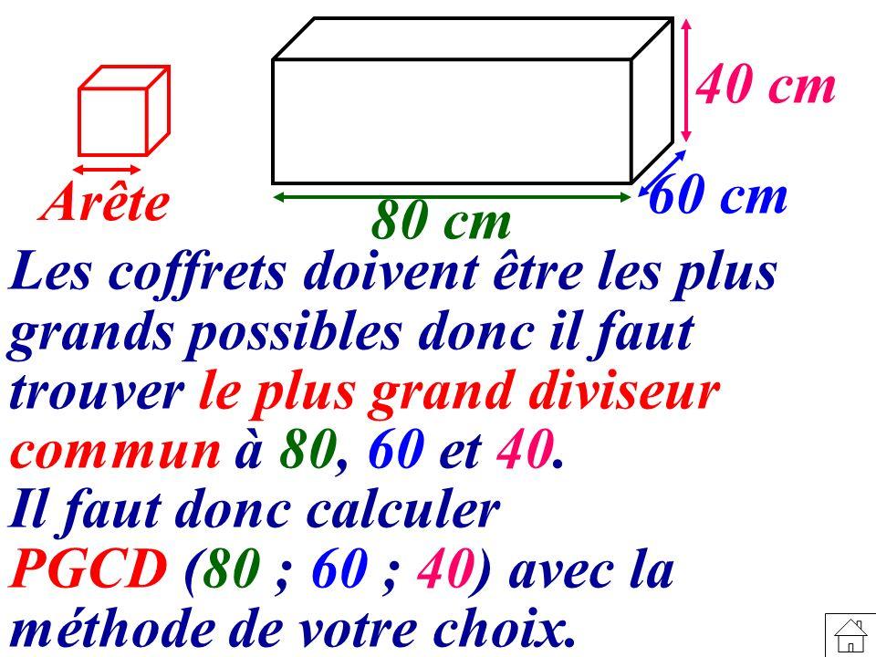 Les coffrets doivent être les plus grands possibles donc il faut trouver le plus grand diviseur commun à 80, 60 et 40.