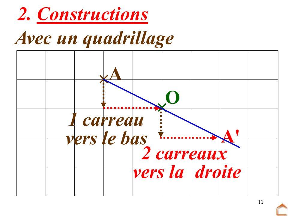 11 2. Constructions Avec un quadrillage O A 1 carreau vers le bas 2 carreaux vers la droite A'