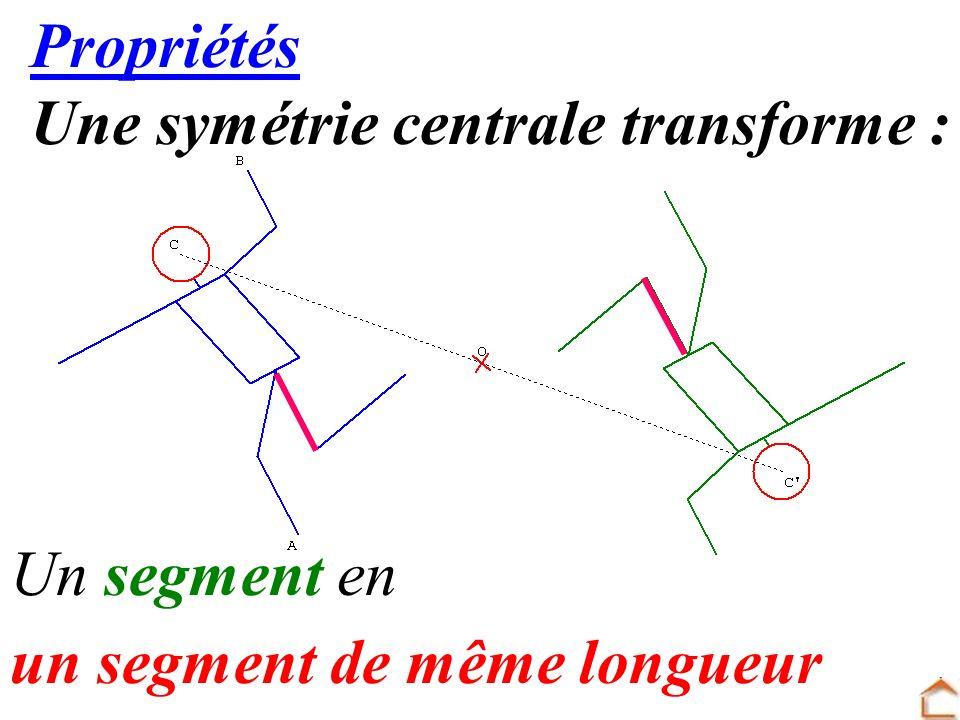 12 Propriétés Une symétrie centrale transforme : Un segment en un segment de même longueur