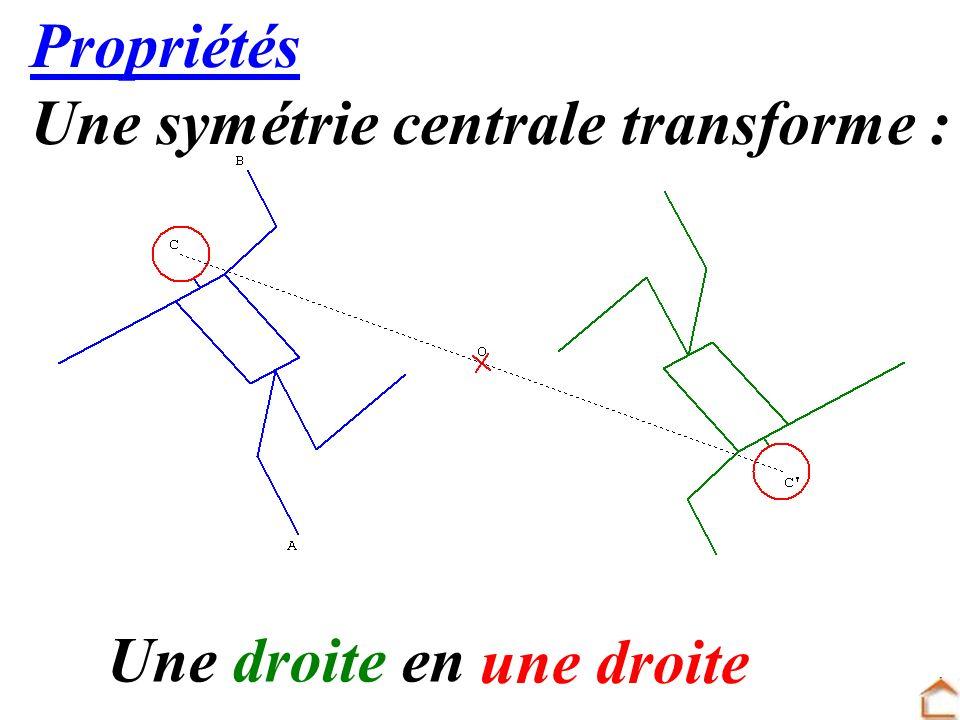 14 Propriétés Une symétrie centrale transforme : Une droite en une droite