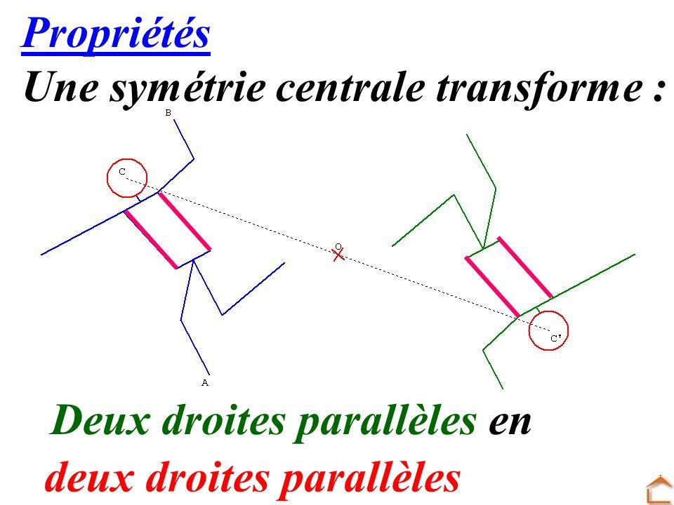 15 Propriétés Une symétrie centrale transforme : Deux droites parallèles en deux droites parallèles