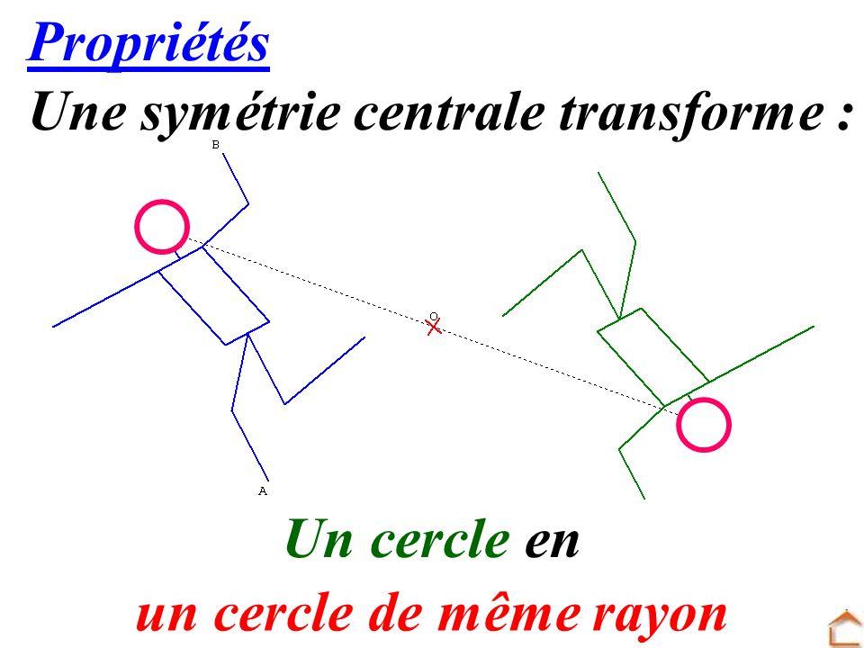 18 Propriétés Une symétrie centrale transforme : Un cercle en un cercle de même rayon