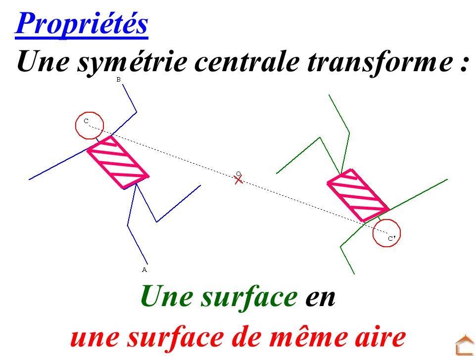 19 Propriétés Une symétrie centrale transforme : Une surface en une surface de même aire