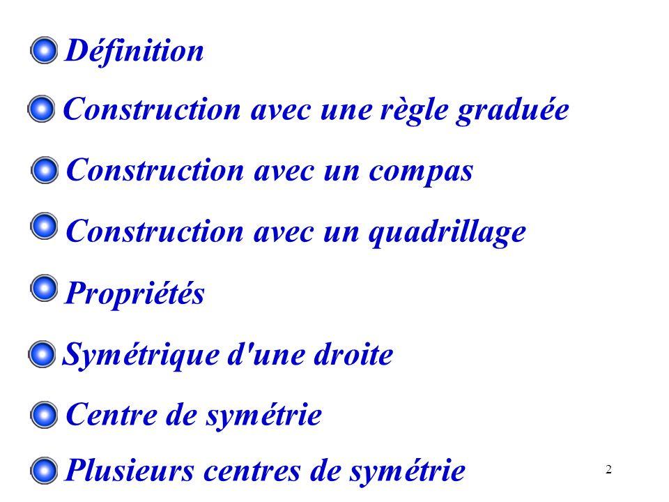 2 Construction avec une règle graduée Construction avec un compas Construction avec un quadrillage Définition Propriétés Symétrique d'une droite Centr