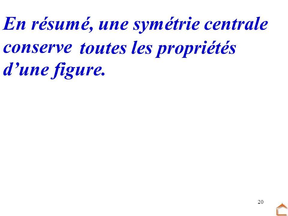 20 En résumé, une symétrie centrale conserve toutes les propriétés dune figure.
