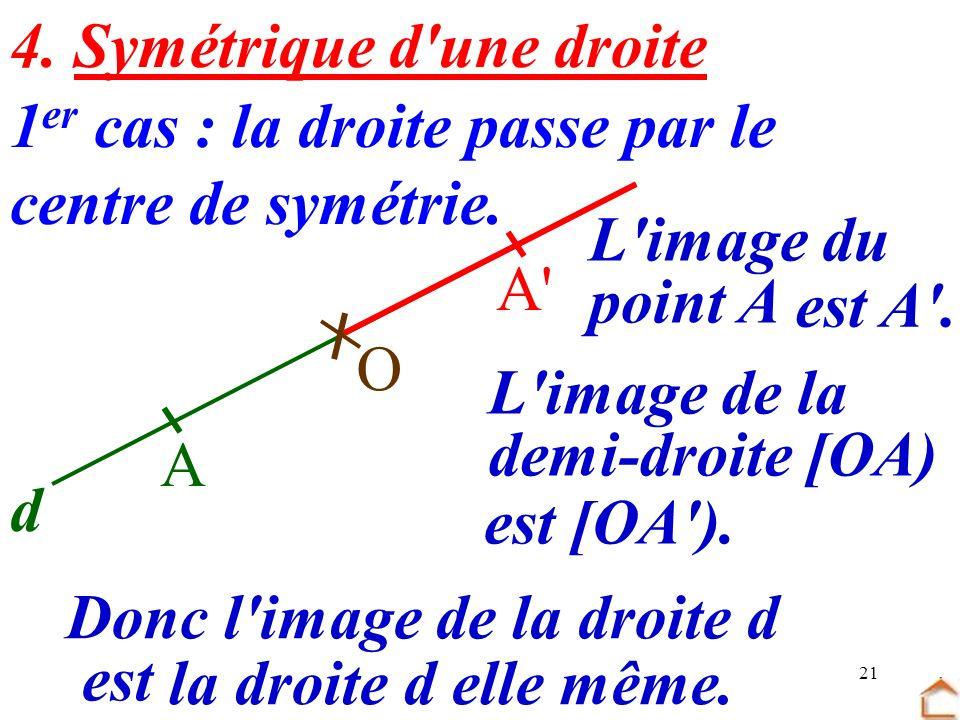 21 4. Symétrique d'une droite 1 er cas : la droite passe par le centre de symétrie. O d A A' L'image du point A Donc l'image de la droite d est est A'