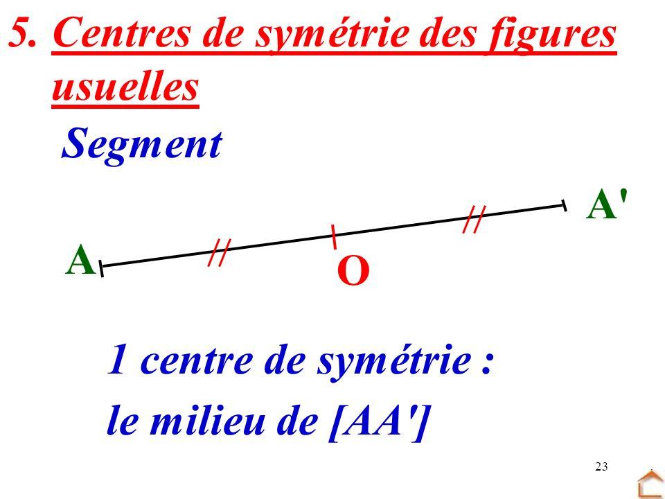 23 5. Centres de symétrie des figures usuelles Segment A A' O 1 centre de symétrie : le milieu de [AA']
