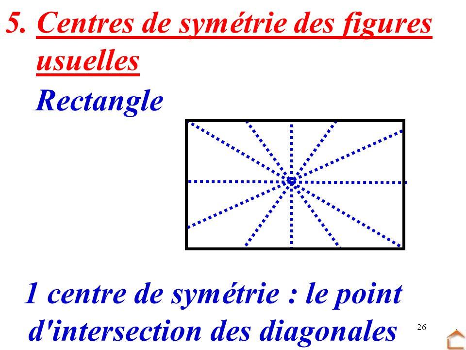 26 5. Centres de symétrie des figures usuelles Rectangle : le point d'intersection des diagonales 1 centre de symétrie