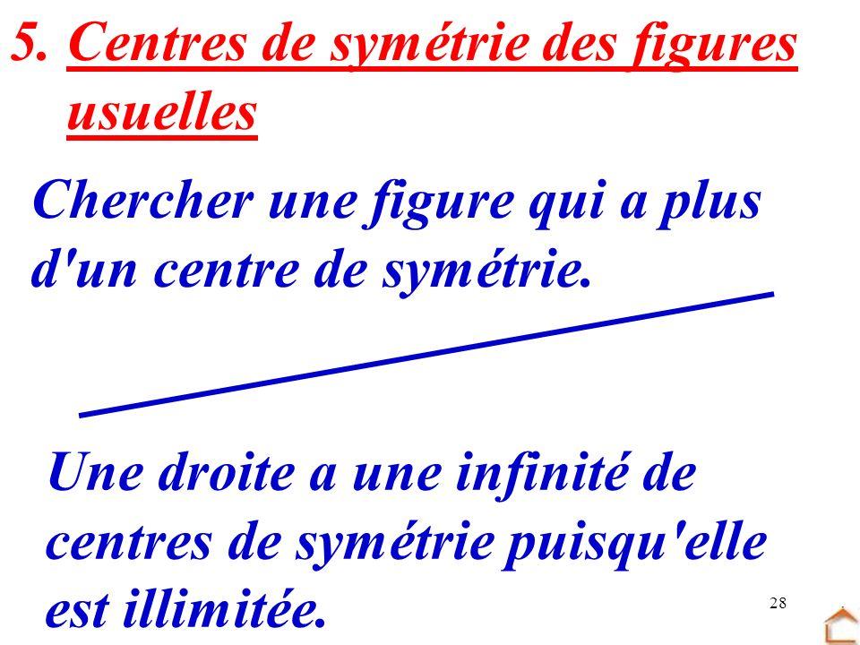 28 5. Centres de symétrie des figures usuelles Chercher une figure qui a plus d'un centre de symétrie. Une droite a une infinité de centres de symétri