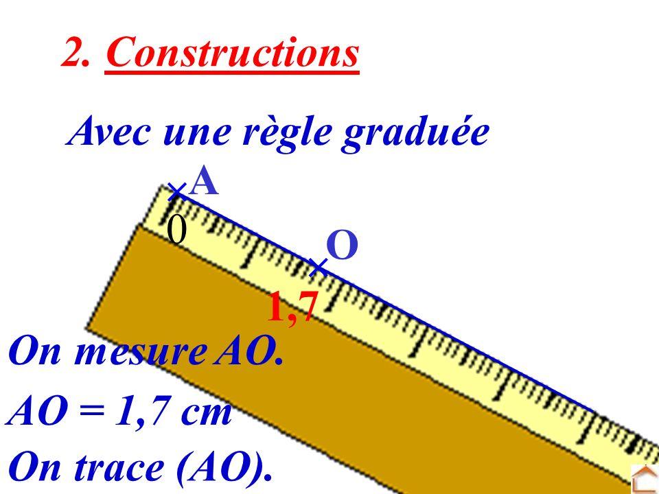 4 2. Constructions Avec une règle graduée O A On trace (AO). 0 1,7 On mesure AO. AO = 1,7 cm