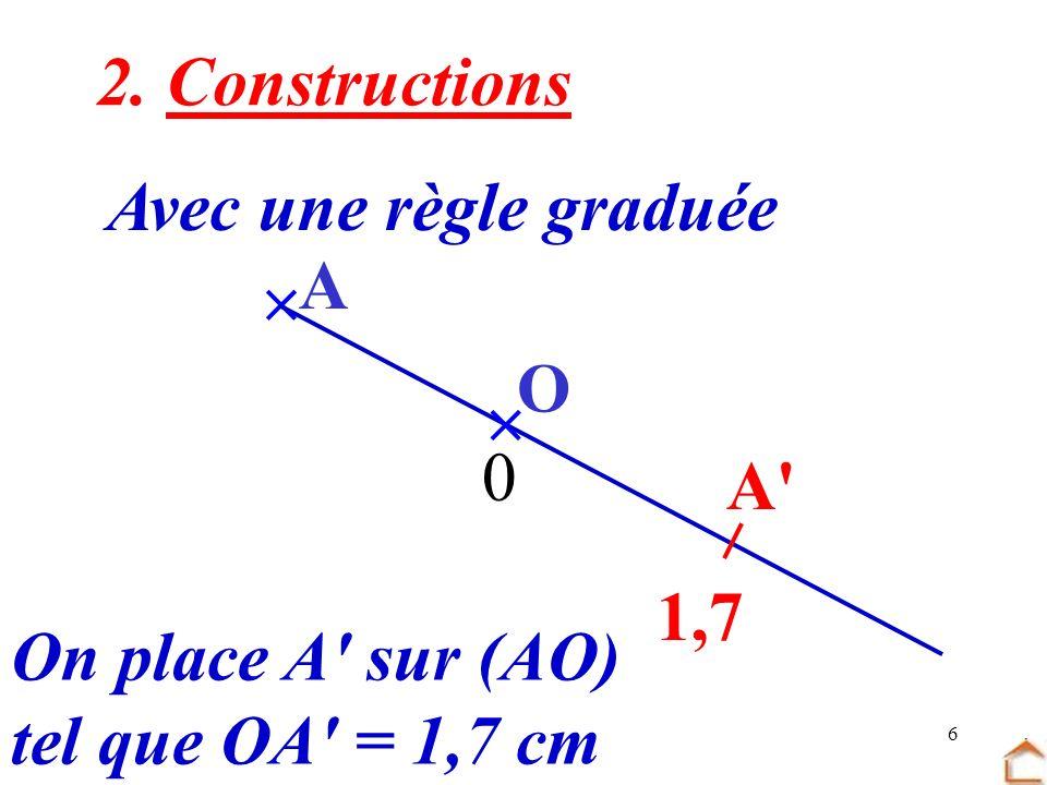 6 2. Constructions Avec une règle graduée O A 0 1,7 On place A' sur (AO) tel que OA' = 1,7 cm A'