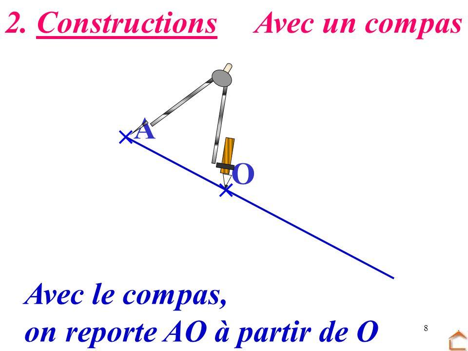 8 O A Avec le compas, on reporte AO à partir de O 2. ConstructionsAvec un compas