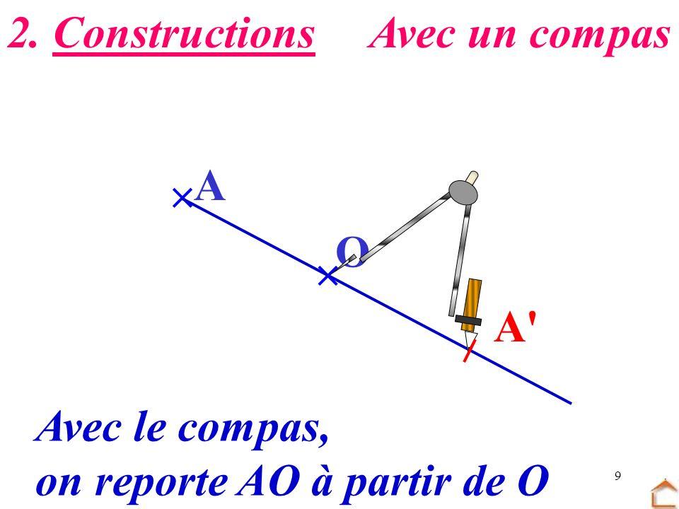 9 2. ConstructionsAvec un compas O A Avec le compas, on reporte AO à partir de O A'