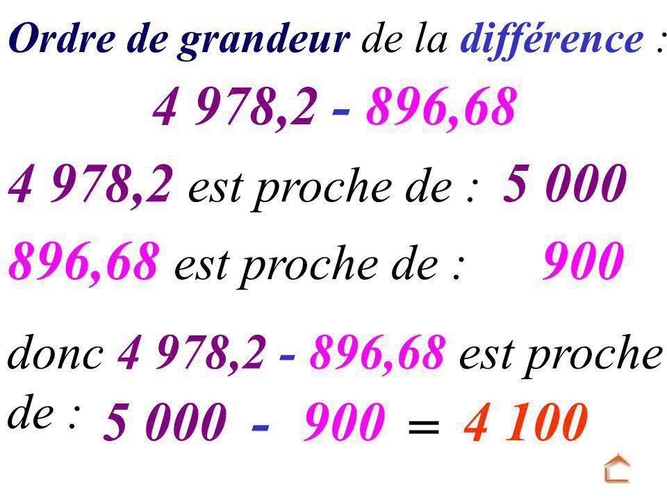 Ordre de grandeur de la différence : 4 978,2 - 896,68 4 978,2 est proche de : 896,68 est proche de : 5 000 900 donc 4 978,2 - 896,68 est proche de : 5 000-900 = 4 100