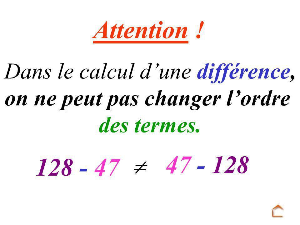 Attention .Dans le calcul dune différence, on ne peut pas changer lordre des termes.