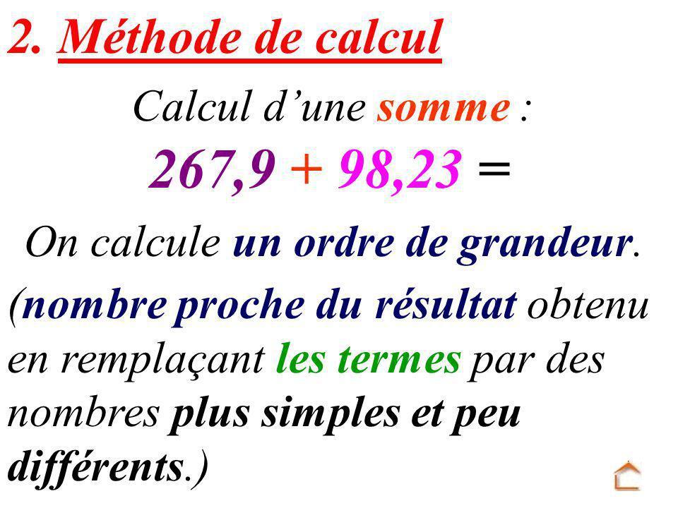 On calcule un ordre de grandeur.2.