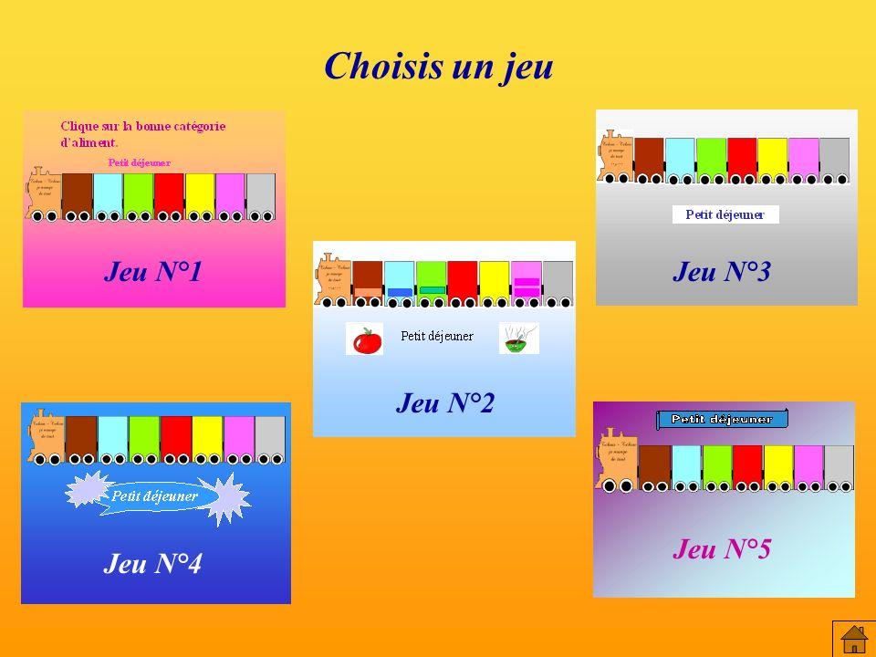 Choisis un jeu Jeu N°3 Jeu N°2 Jeu N°1 Jeu N°4 Jeu N°5