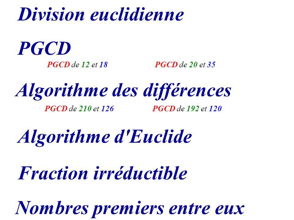 Algorithme des différences PGCD Algorithme d'Euclide Nombres premiers entre eux Fraction irréductible PGCD de 192 et 120PGCD de 210 et 126 PGCD de 12