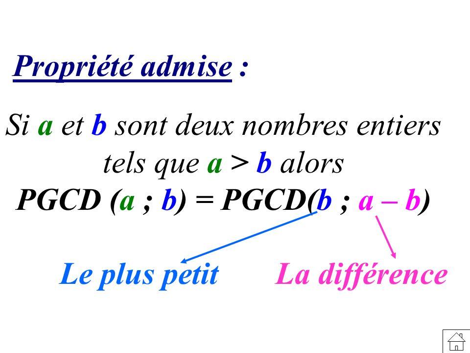 Propriété admise : Si a et b sont deux nombres entiers tels que a > b alors PGCD (a ; b) = PGCD(b ; a – b) Le plus petitLa différence