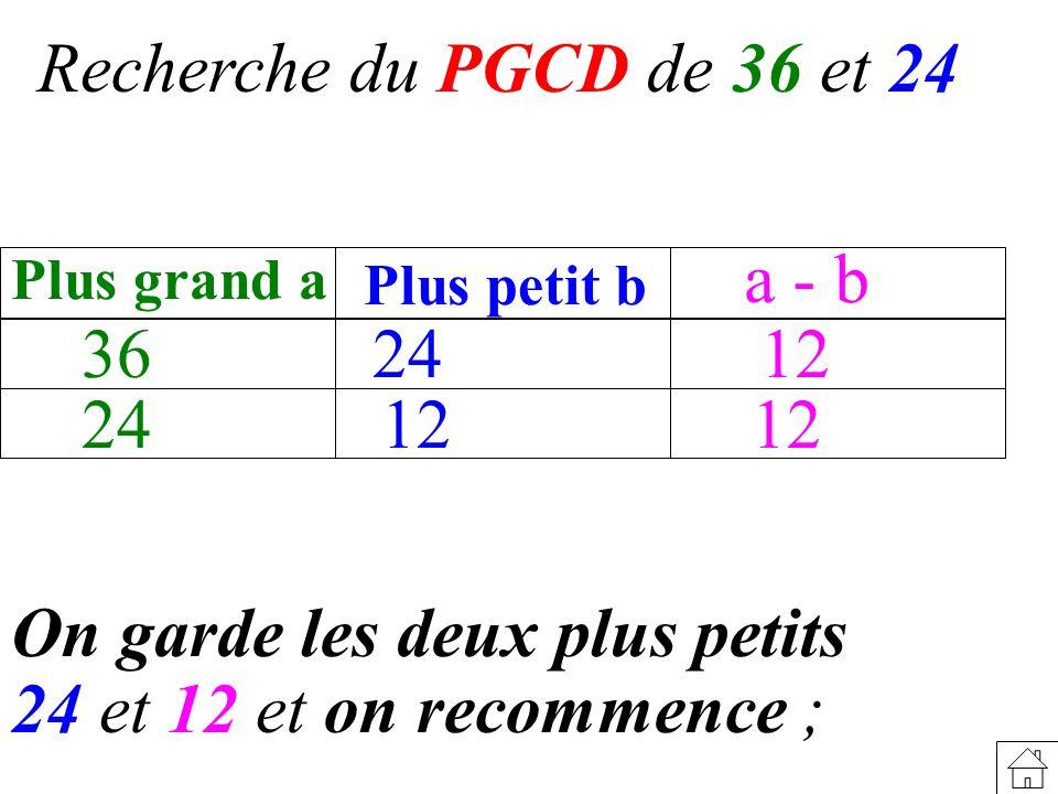 On garde les deux plus petits 24 et 12 et on recommence ; Recherche du PGCD de 36 et 24 36 Plus grand a Plus petit b a - b 24 24 12 12 12