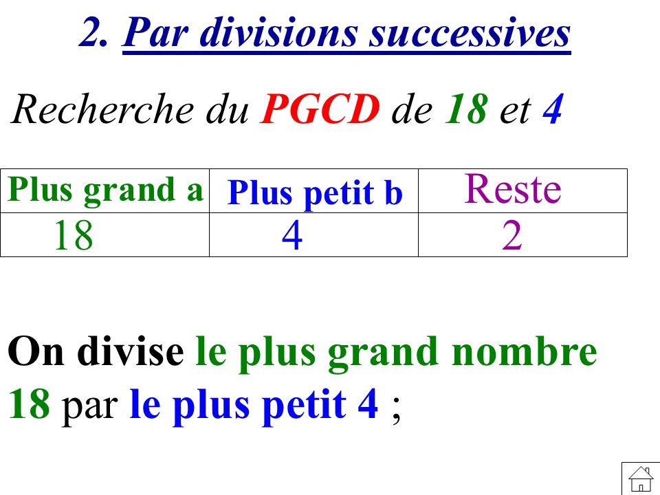 Recherche du PGCD de 18 et 4 18 Plus grand a Plus petit b Reste 42 2. Par divisions successives On divise le plus grand nombre 18 par le plus petit 4