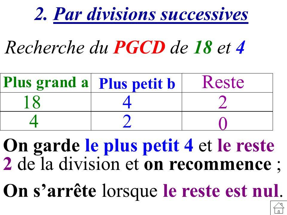 Recherche du PGCD de 18 et 4 18 Plus grand a Plus petit b Reste 4 4 2 2 0 2. Par divisions successives On garde le plus petit 4 et le reste 2 de la di