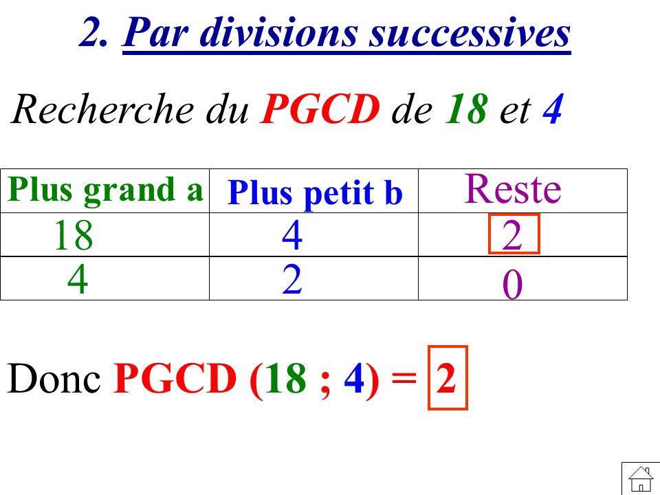 Recherche du PGCD de 18 et 4 18 Plus grand a Plus petit b Reste 4 4 2 2 0 2. Par divisions successives Donc PGCD (18 ; 4) = 2