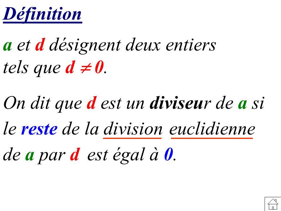 Définition a et d désignent deux entiers tels que d 0. On dit que d est un diviseur de a si le reste de la division est égal à 0. euclidienne de a par