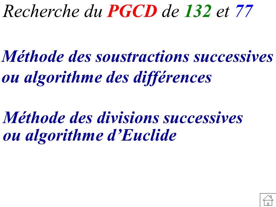 Recherche du PGCD de 132 et 77 Méthode des divisions successives ou algorithme dEuclide Méthode des soustractions successives ou algorithme des différ