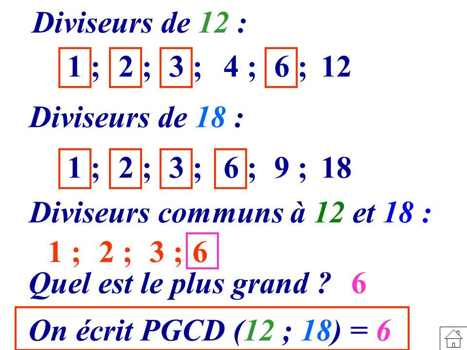 Diviseurs de 12 : 1 ; 2 ;3 ;4 ;6 ;12 Diviseurs de 18 : 1 ; 2 ;3 ;6 ;9 ;18 Diviseurs communs à 12 et 18 : 1 ; 2 ;3 ;6 Quel est le plus grand ? 6 On écr